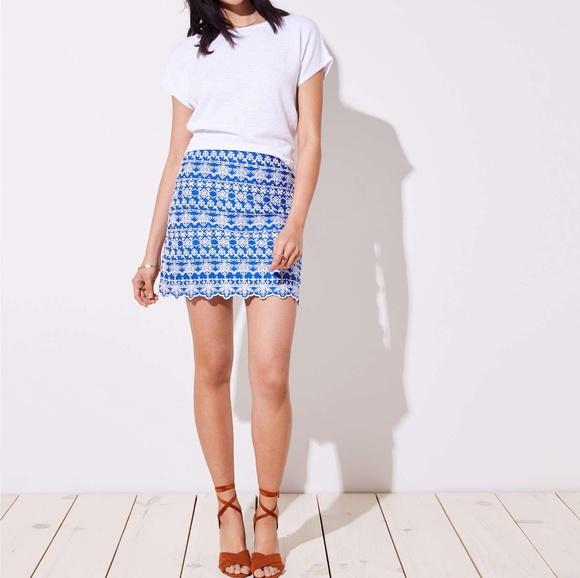 e44f6a797807 LOFT Skirts   Nwt Eyelet Blue White Embroidered Skirt   Poshmark